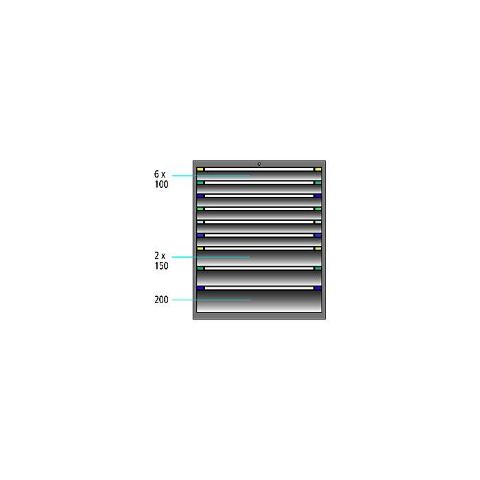 ThurMetall Schubladenschrank (BxTxH) 1005x695x1200mm KEY Lock Türkisblau RAL 5018 84.377.220