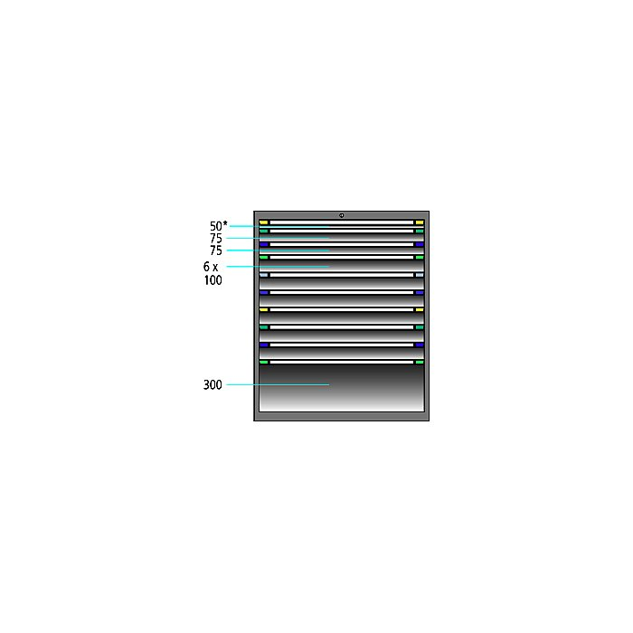 ThurMetall Schubladenschrank (BxTxH) 605x695x1200mm KEY Lock Lichtblau RAL 5012 84.388.010