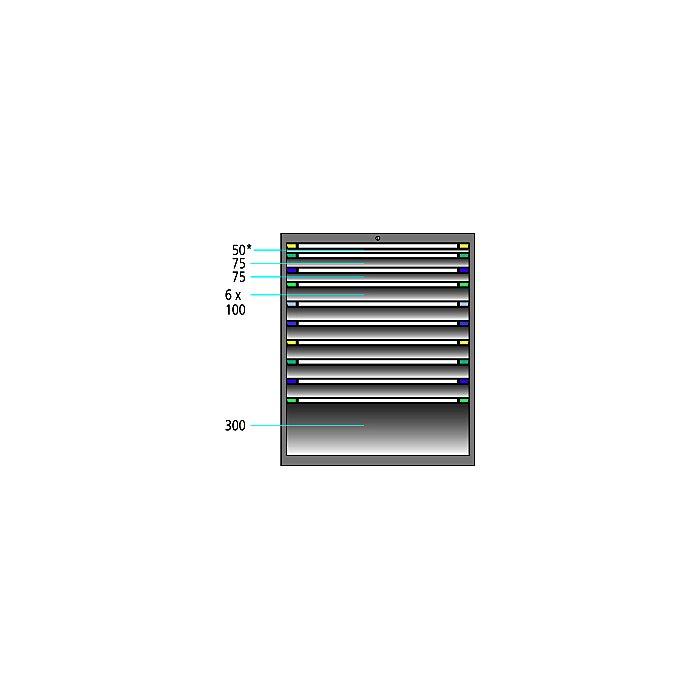 ThurMetall Schubladenschrank (BxTxH) 605x695x1200mm KEY Lock Brilliantblau RAL 5007 84.389.210