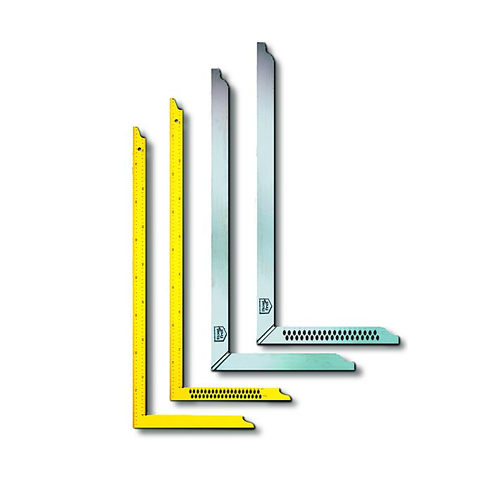 BMI Zimmermannswinkel - 70x30cm, mit Löcher, gelb pulverbeschichtet, Skala auf Vorderseite 950070002
