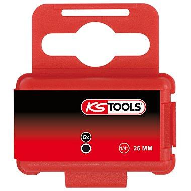 """KS Tools 1/4"""" Sechskant-Bit 8mm, 25mm, S2 5 Stück 911.2271"""