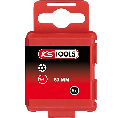 """KS Tools 1/4"""" Bit TX m.Bohrung, 50mm, TB7, 5er Pack 911.2771"""