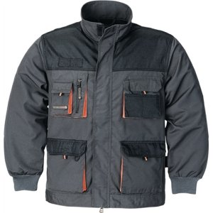 Herrenjacke Gr.56 dunkelgrau/schwarz/orange 65%PES/35%CO 270g/m2