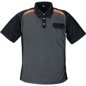 NORDWEST Herrenpoloshirt Gr.M dunkelgrau/schwarz/orange 50%PES/50%CoolDry