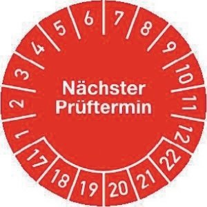 Mehrjahres-Prüfplakette Nächster Prüftermin 17-22 20mm selbstkl. Btl. a 100 St.