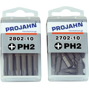 Projahn 1/4 Zoll Bit L50mm Phillips Nr.2 10er Pack 2802-10