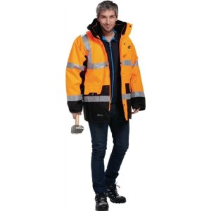 Warnschutz-Parka 5in1, Gr.L orange, 100% PES