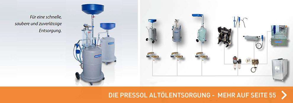 Hier geht es zu den Altölentsorgungs Produkten von PRESSOL