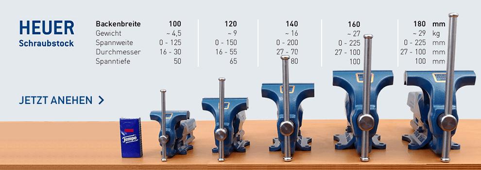 Alle HEUER Schraubstöcke im Vergleich - Größe - Schraubstock Vergleich