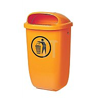 Abfallbehälter 50l Ku. orange H.395xB.250xT.650mm m.Regenhaube
