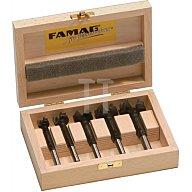 FAMAG Forstnerbohrersatz 5-tlg. HM-bestückt Schaft-D.15,20,25,30,35mm i.Holzkasten 1663505