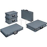 Kunststoffkoffer 20l PP m.1Griff L400xB300xH233mm grau stapelbar