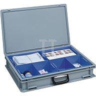 Kunststoffkoffer PP 24l 4 Einsatzkästen L600xB400xH133mm 1Griff