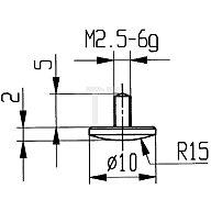 Käfer Messeinsatz D.10mm gewölbt Radius 15 Stahl Gewinde M2,5 f.Messuhren 62008
