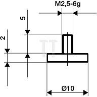 Käfer Messeinsatz D.20mm plan Stahl Gewinde M2,5 f.Messuhren 62126