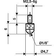 Käfer Messeinsatz D.3mm L.6mm Kugel Rubin Gewinde M2,5 f.Messuhren 62002