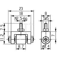 Käfer Messeinsatz D.8,4mm Rolle Stahl Gewinde M2,5 f.Messuhren 62075