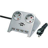 Brennenstuhl Schreibtischsteckdose 2 x 230V Schuko-Steckd. 4 USB Anschl.m.1,8m H05VV-F 3G1,5 1153540122