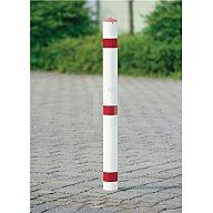 Urbanus Sperrpfosten Stahl Bodenhülse u.Dreikantschloss D.76xH900 rot/weiss m.Spitzkappe AS 144 RW