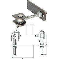 GAH Torband Gewinde M16 Länge 130mm für Metalltore 180 Grad Öffnung Stahl blank 411138