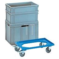 fetra Transportroller L610x410mm offener ABS-Kunststoffrahmen blau Trgf. 250 kg 13590