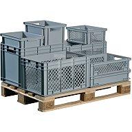 Lockweiler Transportstapelbehälter 24l PP grau Seitenwände durchbrochen Muschelgriff NB24V2-139124120118
