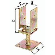 GAH U-Pfostenträger ETA-10/0210 71-131x110x70x100mm Stahl roh galv. gelb verz. 214500