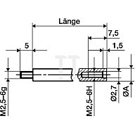 Käfer Verlängerungsstück L.50mm Messbolzen-D.4mm f.Messuhren 62511