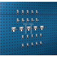 Bott Werkzeughalter 25-tlg.Sortiment verzinkt 15 Haken 10 Klemmen für Lochplatten 14030210