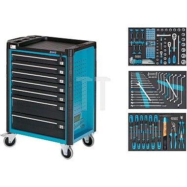 HAZET Werkstattwagen Assistent mit Sortiment - Schubladen flach: 5x 80x527x398 mm - Schubladen hoch: 2x 165x527x398 mm - Anzahl Werkzeuge: 141
