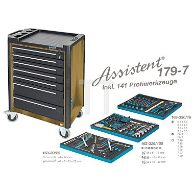 Hazet Werkzeugwagen Assistent 179-7 gold inkl. 141 Profiwerkzeuge, Werkzeugkiste, Montagewagen HAZET