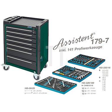 Hazet Werkzeugwagen Assistent 179-7 grün inkl. 141 Profiwerkzeuge, Werkzeugkiste, Montagewagen HAZET