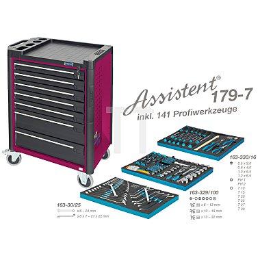 Hazet Werkzeugwagen Assistent 179-7 pink inkl. 141 Profiwerkzeuge, Werkzeugkiste, Montagewagen HAZET