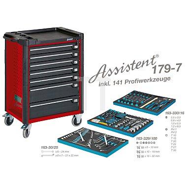 Hazet Werkzeugwagen Assistent 179-7 rot inkl. 141 Profiwerkzeuge, Werkzeugkiste, Montagewagen HAZET