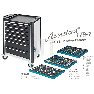 Hazet Werkzeugwagen Assistent 179-7 weiss inkl. 141 Profiwerkzeuge, Werkzeugkiste, Montagewagen HAZET
