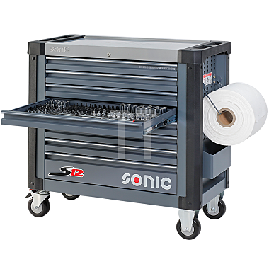 Sonic Werkstattwagen S12 gefüllt, 485-teilig, dunkelgrau