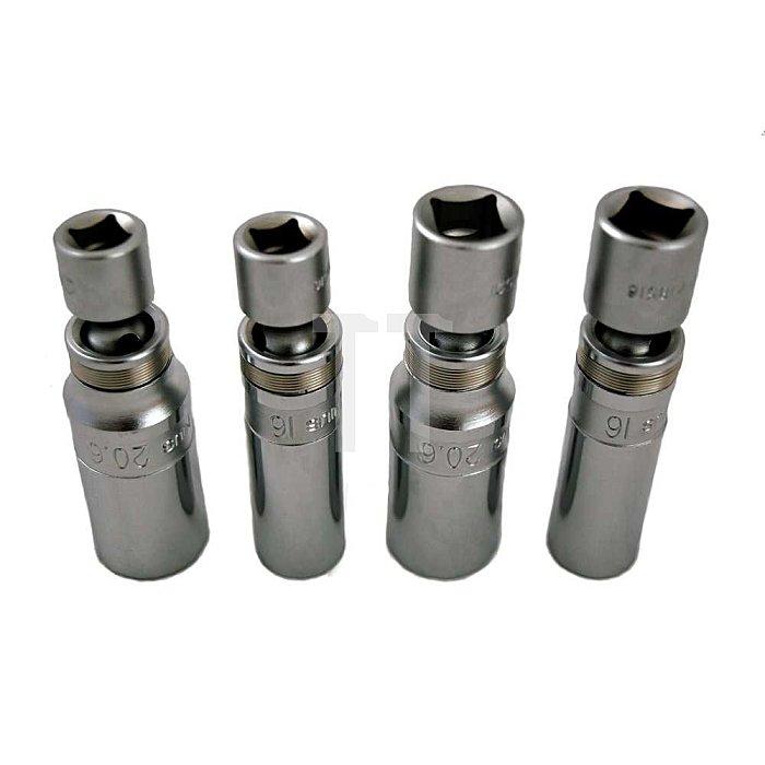 """3/8 """" & 1/2"""" Zündkerzennüsse mit Gelenk Set 16mm & 21mm 4tlg."""
