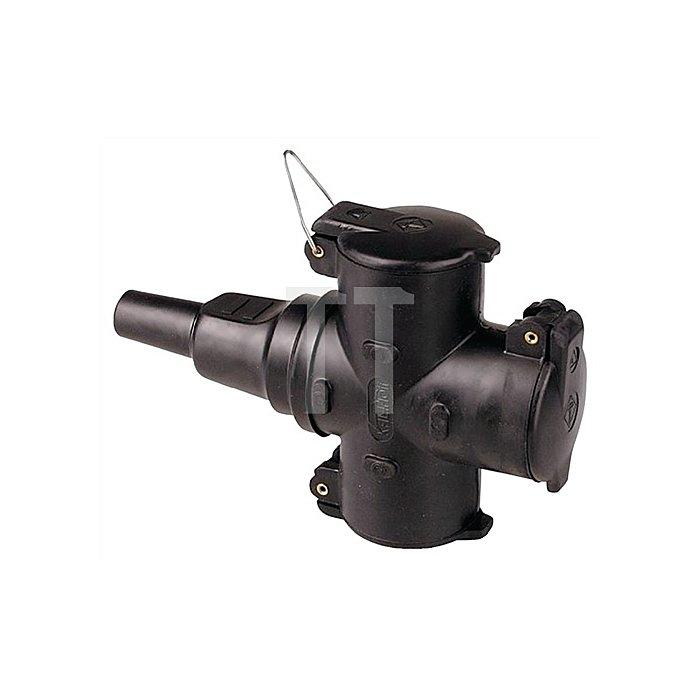 3fach-Schuko-Kupplung IP44 schwarz b.3x2,5mm2 2polig 250V 10-/16A