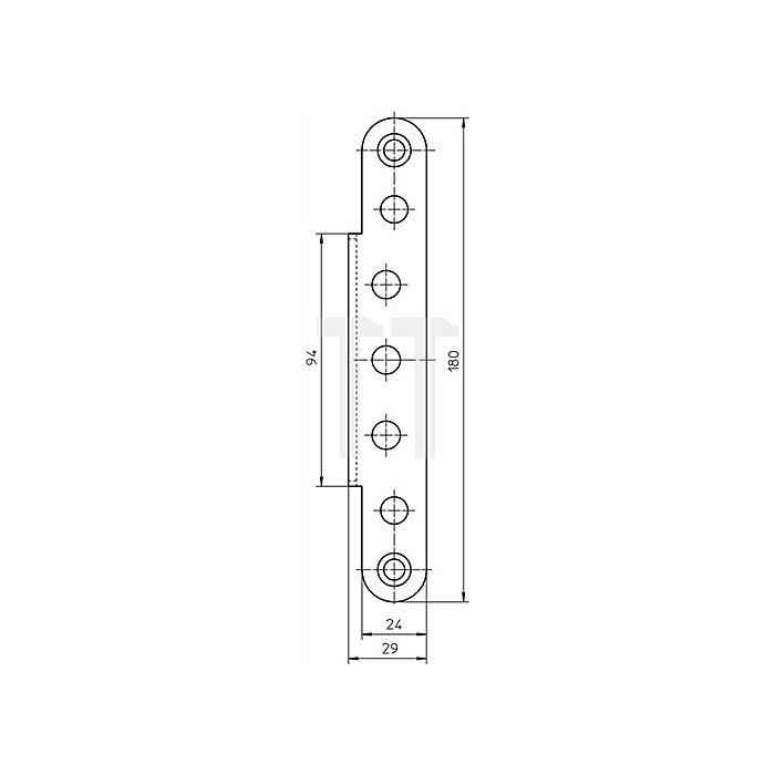 Abdeckwinkel VX 7560 Ausführung KK Stahl matt vernickelt für Blockzargen