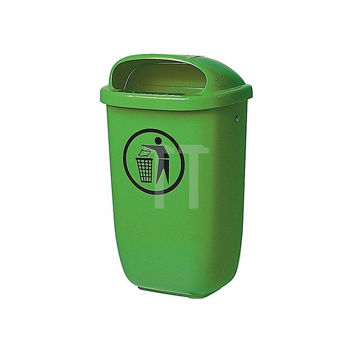 Abfallbehälter 50l Ku. grün H.395xB.250xT.650mm m.Regenhaube