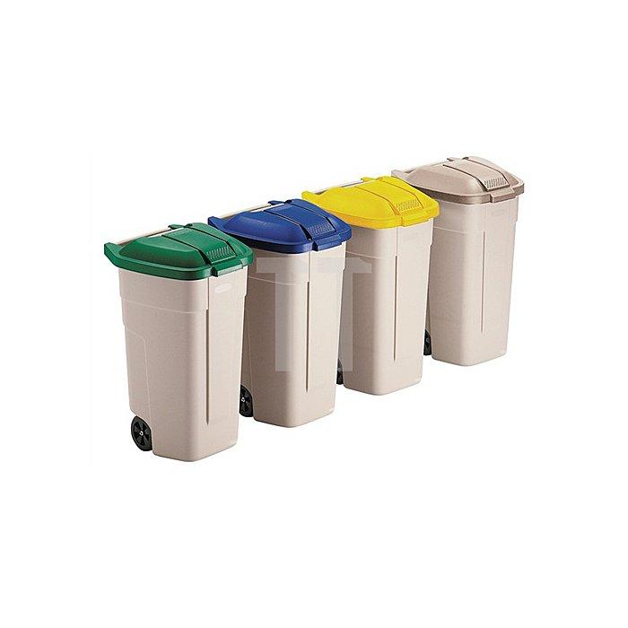 Abfallcontainer beige 100l Deckel grün B.520xT.560xH.860mm m.2 Rädern