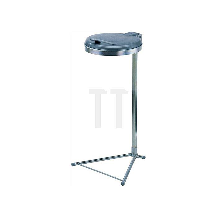 Abfallsammler f.120l 980x500x530mm Ku.-Deckel/Gestell silber/verzinkt