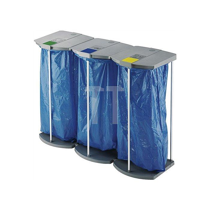 Abfallsammler stationär 3x120l H.970xB.1330xT.450mm Alu.-Gestell