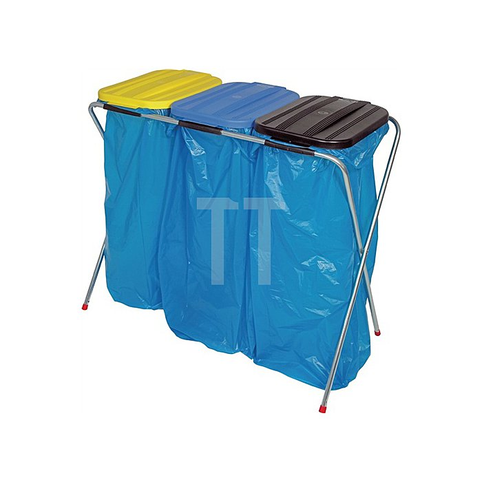 Abfallsammler stationär Deckel eckig gelb, blau, schwarz f.3x70l-120lSäcke