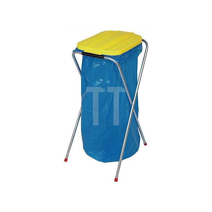 Abfallsammler stationär Deckel eckig gelb für 1x70l-120l Säcke