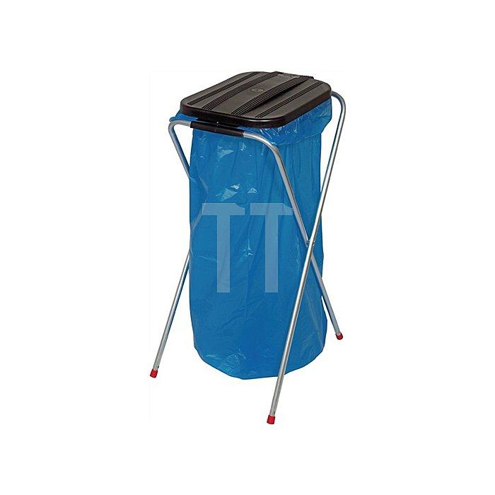 Abfallsammler stationär Deckel eckig schwarz für 1x70l-120l Säcke