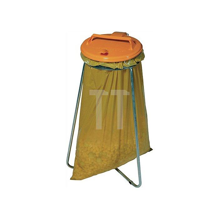 Abfallsammler stationär Deckel rund gelb für 1x120l Säcke