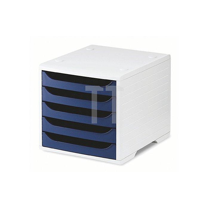 Ablagebox Ku. Front blau m.5Schubl. H255xB270xT340mm Gehäuse grau