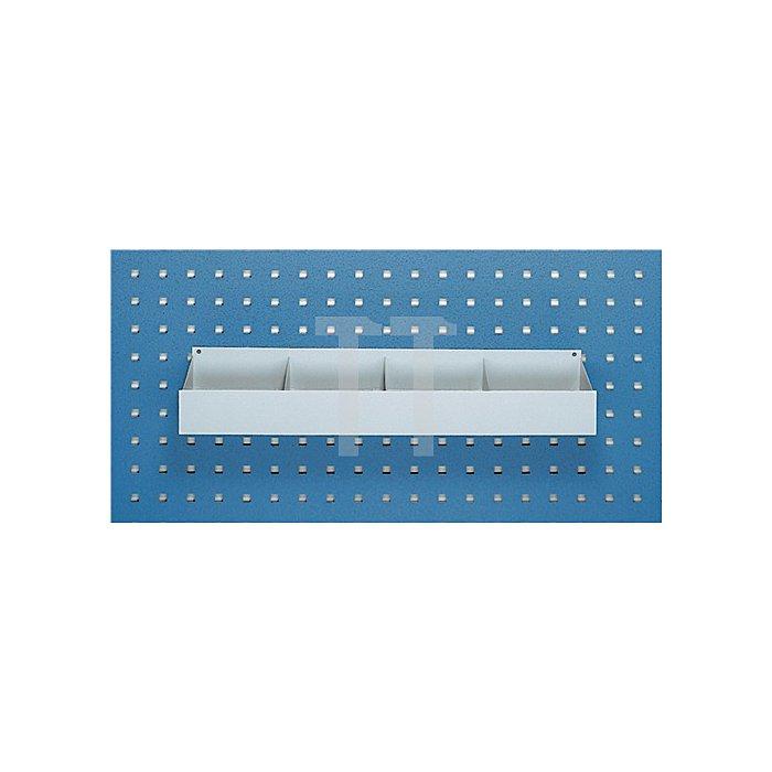 Ablageschale B.456xH.50xT.100mm f.4KT-Lochung 4fach unterteilt a.Stahlblech