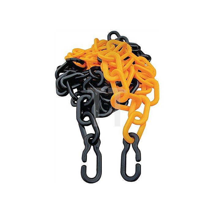 Absperrkette gelb/schwarz L.3m Glieder-D.9xL.11mm Kunststoff